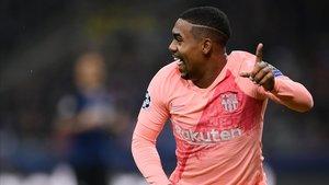 Malcom celebra el gol que ha marcado frente al Inter.