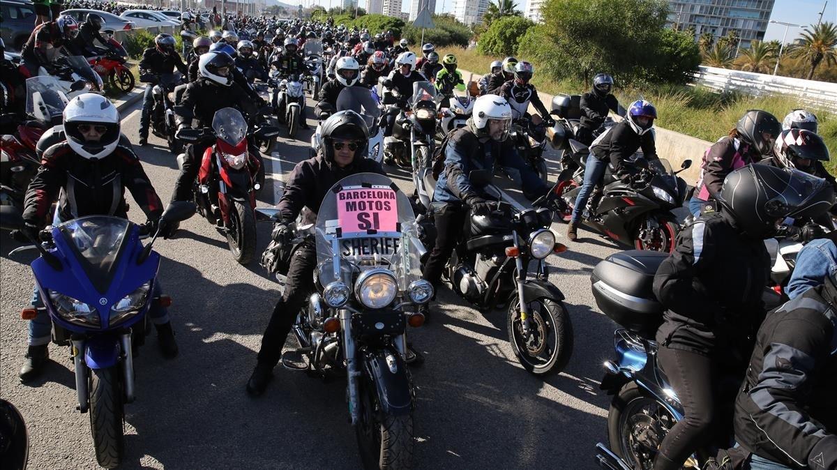 Manifestación motera en Barcelona.