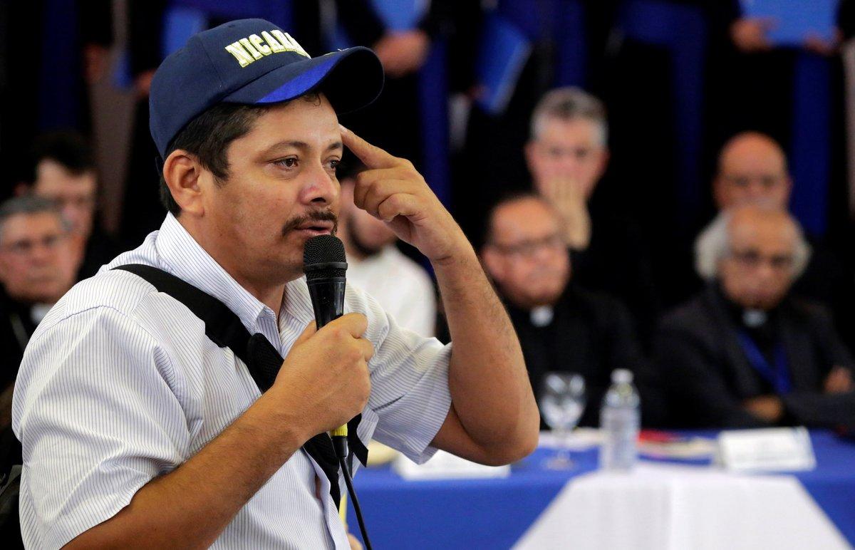 Medardo Mairena en un foro del diálogo nacional con el gobierno de Nicaragua.