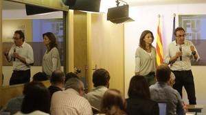 Mercè Conesa y Josep Rull, en la presentación de la campaña de CDC paralos comicios del 27-S.