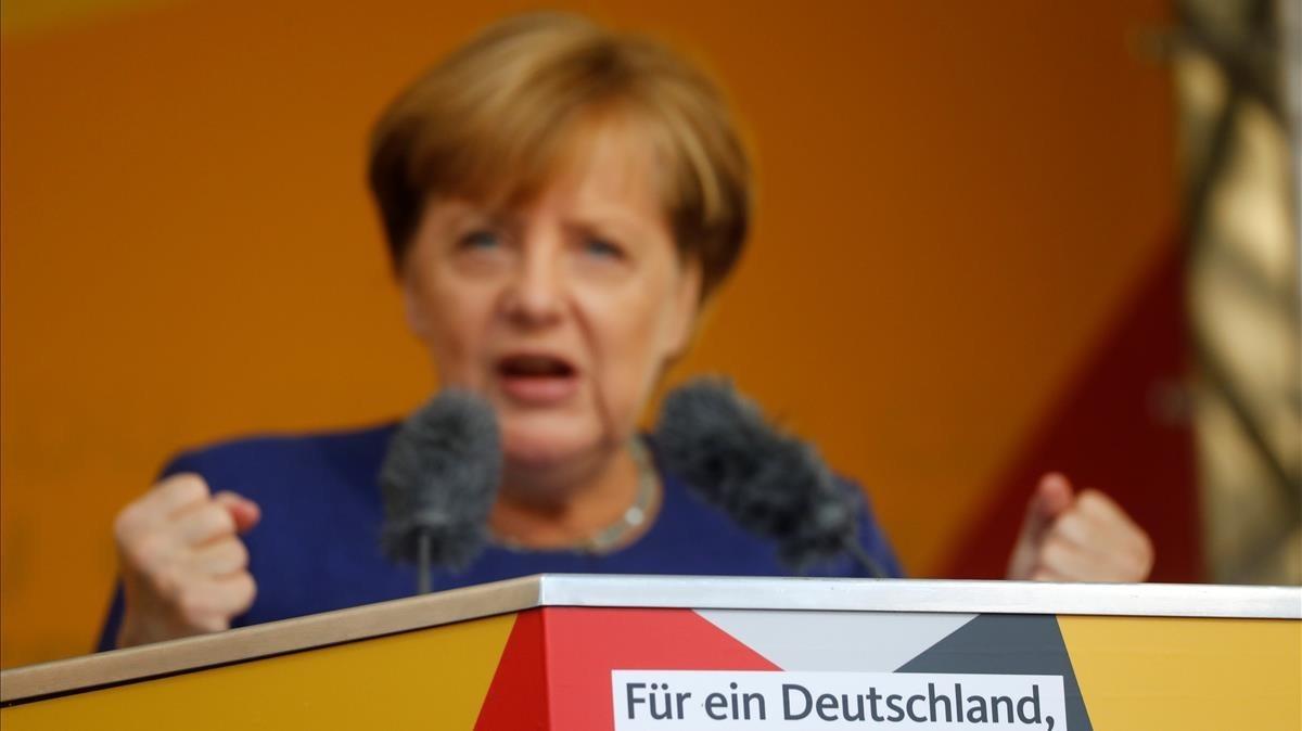 Merkel, en un acto electoral en Fritzlar, el 21 de septiembre.