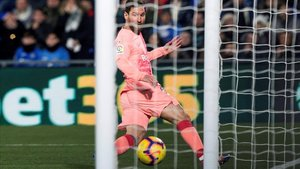 Messi marca el 0-1 del Barça al Getafe.