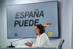 La ministra de Hacienda y portavoz del Gobierno, María Jesús Montero, en la rueda de prensa posterior al Consejo de Ministros, en la Moncloa, este 1 de septiembre.