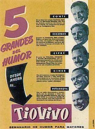 UN MUNDO DE VIÑETAS 3Conti, Peñarroya, Escobar y Cifré pasean por una calle de Barcelona (izquierda) en la ilustración de portada del cómic de Paco Roca (derecha), y celebran el primer número de 'Tío Vivo' (arriba). A la izquierda, el personaje de Víctor Mora con Armonía, guionista y traductora de Bruguera. Abajo, promoción de la nueva revista.