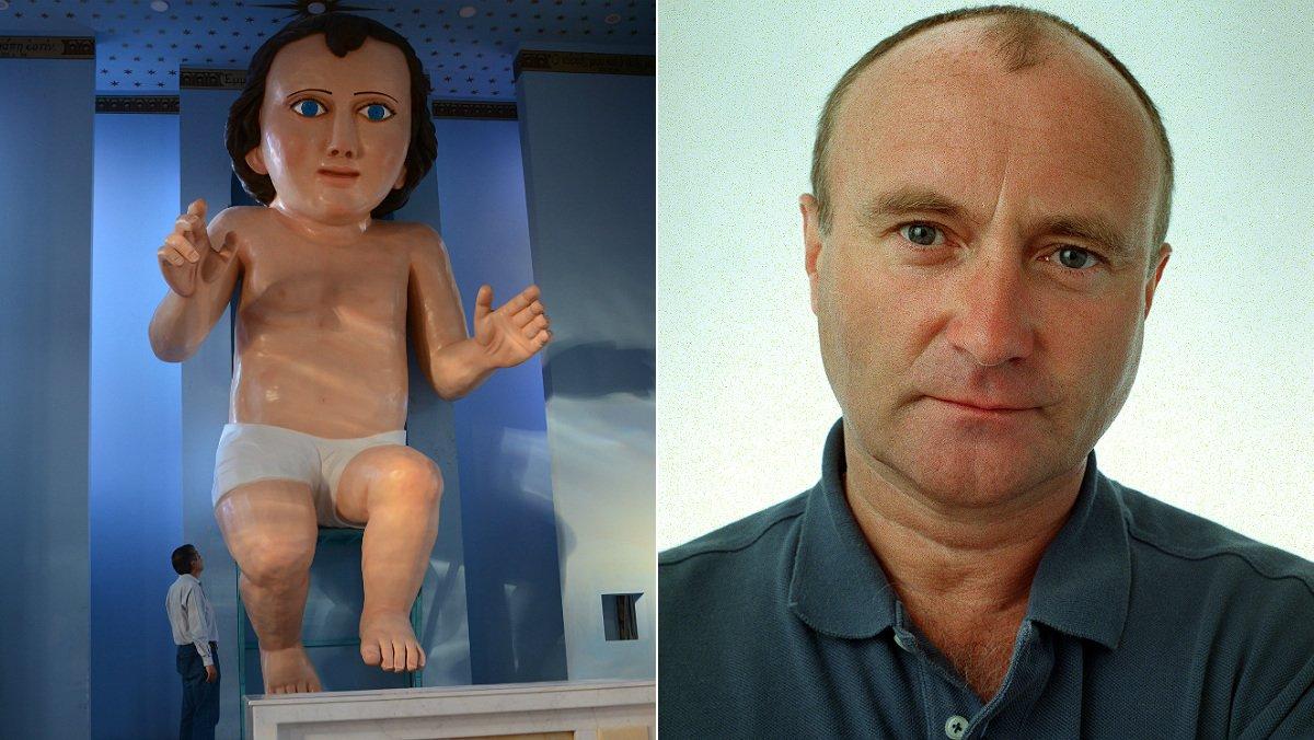 Broma amb el Nen Jesús gegant mexicà amb cara de Phil Collins