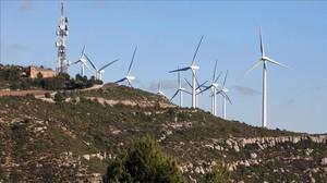 Instalaciones del parque eólico de Rubió, en la comarca del Anoia.