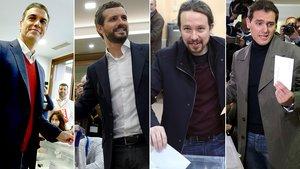 Pedro Sánchez, Pablo Casado, Pablo Iglesias y Albert Rivera votan el 10-N.