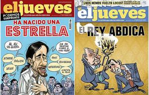 La portada censurada dEl Jueves sobre labdicació del Rei (dreta) i la de Pablo Iglesias per la qual ha estat substituïda als quioscos.