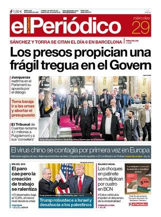 La portada de EL PERIÓDICO del 29 de enero del 2020.