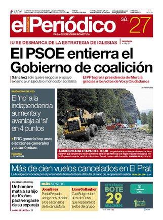 La portada de EL PERIÓDICO del 27 de julio del 2019