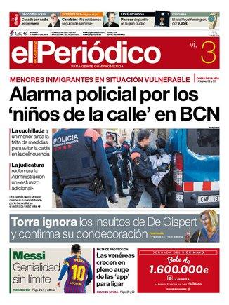 La portada de EL PERIÓDICO del 3 de mayo del 2019