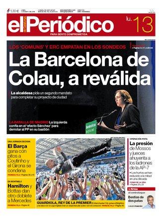 La portada de EL PERIÓDICO del 13 de mayo del 2019