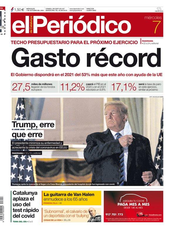La portada de EL PERIÓDICO del 7 de octubre del 2020