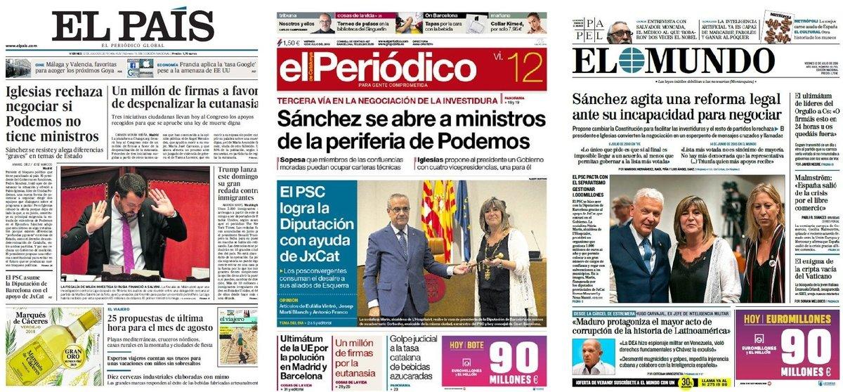 Prensa de hoy: Las portadas de los periódicos del viernes 12 de julio del 2019