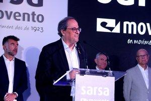 El presidente de la Generalitat, Quim Torra, en la inauguración de Moventia en Terrassa.
