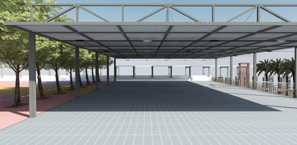 Recreación virtual de la superficie del centro de limpieza bajo el parque de Joan Miró, en el Eixample.