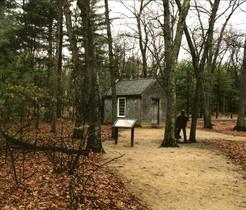 Reproducción de la casa de la laguna Walden donde Thoreau pasó dos años de su vida.