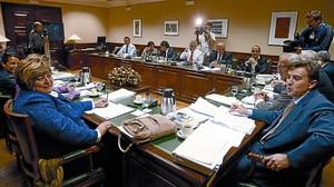 Reunió ahir de la mesa sobre el Pacte de Toledo al Congrés dels Diputats.