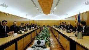 Reunión de la Comisión de Seguimiento del Pacto Antiyihadista que se ha celebrado en la sededel Ministerio del Interior.