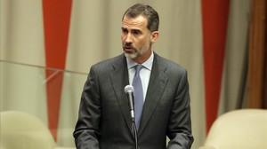 El rey Felipe VI pronuncia su discurso en la cumbre de refugiados de la ONU, el lunes.