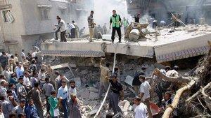 Ruinas de la vivienda del líder de Hamas Mahmoud al-Zahar destrozada por un misil israelí en Gaza, en septiembre del 2003.