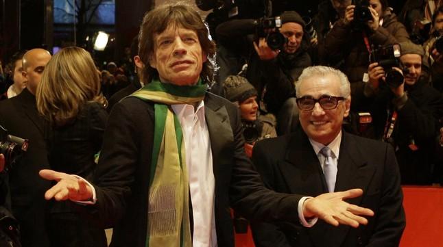Mick Jagger y Martin Scorsese, en el Festival de Cine de Berlín, durante la presentación de la película documentalShine a Light.