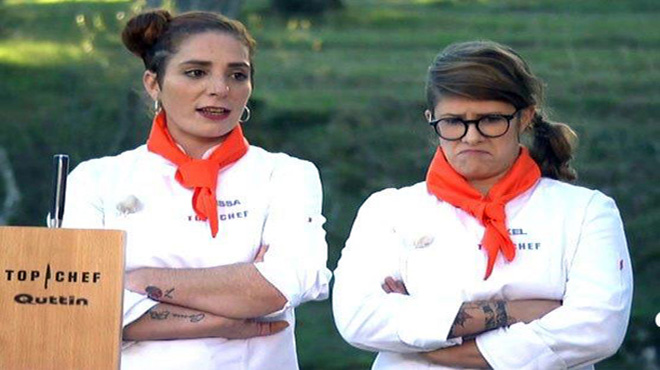 Melissa y Rakel, enzarzadas en plena batalla (Top chef, A-3 TV).