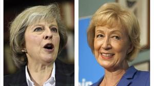 Theresa May (izquierda) y Andrea Leadsom, en un combo de imágenes difundidas el 7 de julio en Londres.