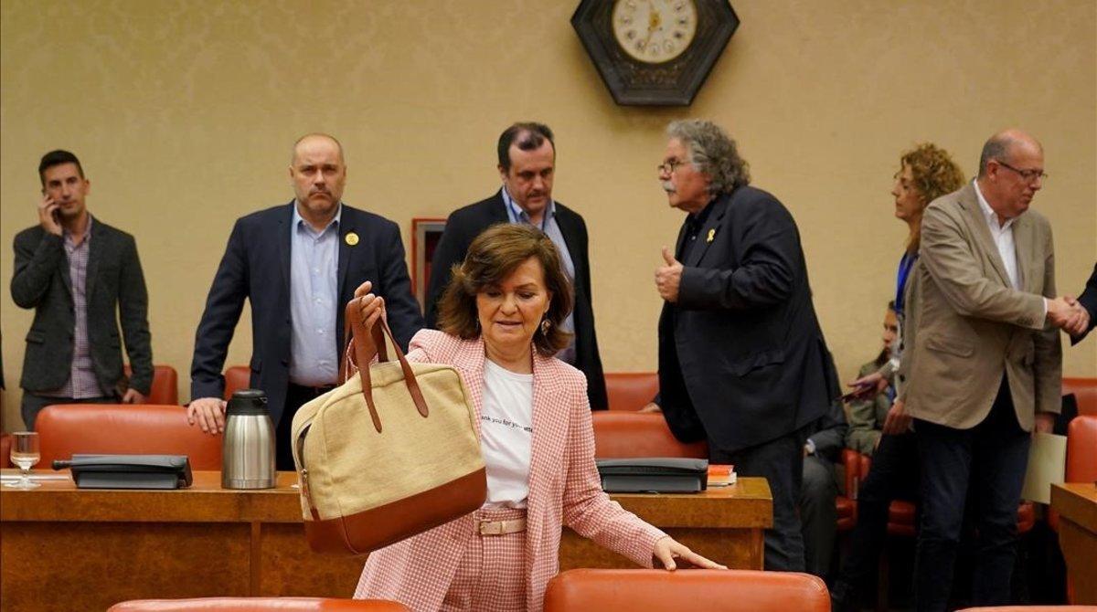 La vicepresidenta del Gobierno, Carmen Calvo, ha defendido el real decreto del brexit en la Diputación Permanente.