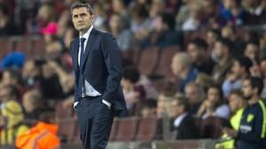 Valverde, en el Camp Nou durante el partido con el Málaga.