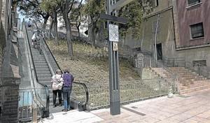 Veïns d'Horta-Guinardó pugen el carrer de Telègraf per les escales mecàniques inaugurades a mitjans de maig.