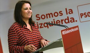 La vicesecretaria general del PSOE, Adriana Lastra, durante una rueda de prensa en la sede del partido.