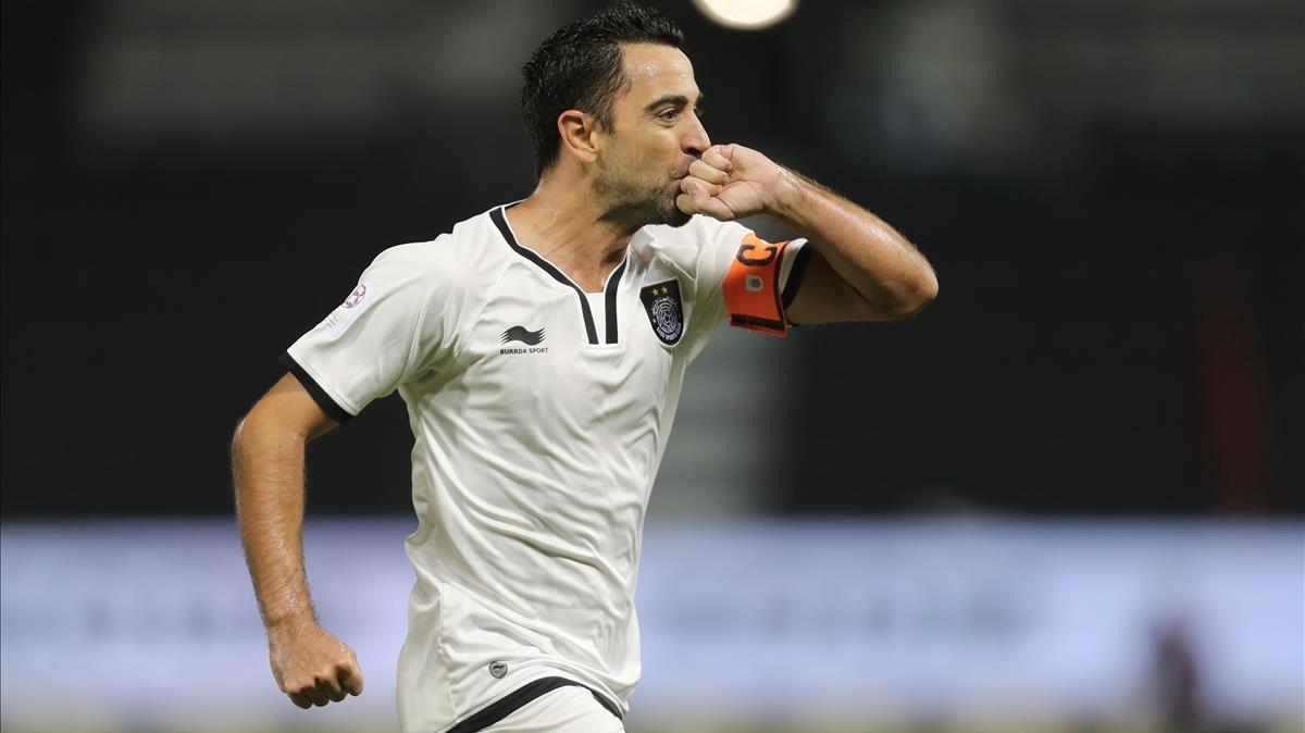 Xavi, con la camiseta del Al Sadd.
