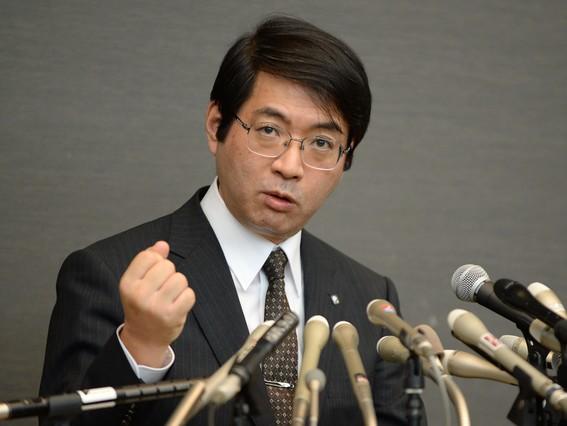 Yoshiki Sasai, en una roda de premsa, labril daquest any.