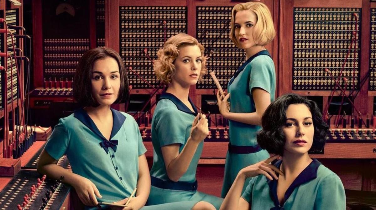 Imagen promocional de la serie de Netflix Las chicas del cable, protagonizada por Blanca Suárez, Ana Fernández, Nadia de Santiago y Maggie Civantos.