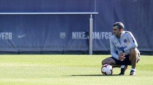 Ernesto Valverde, durante el entrenamiento matutino.