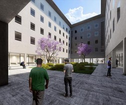 EL ESPACIO 3 Arriba, uno de los patios interiores de la cárcel Modelo recuperados para la ciudad. Abajo, dos imágenes virtuales del futuro <br/>centro abierto de la Zona Franca.