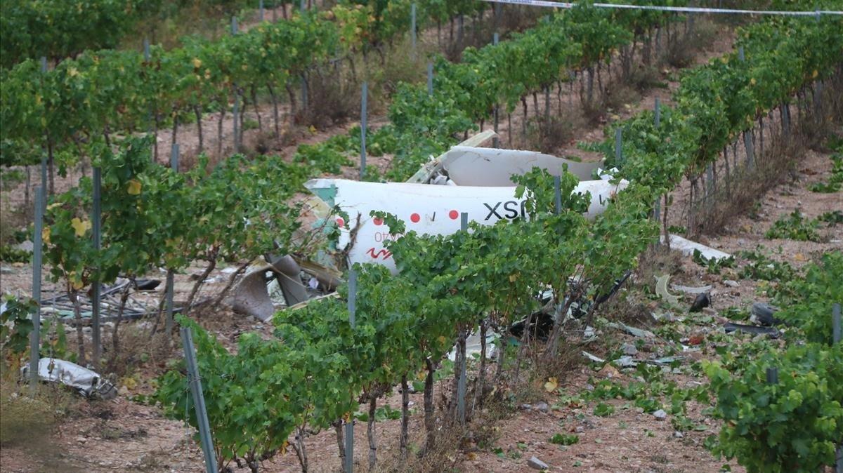 Avioneta accidentada en Mas Gatell, en Bonastre del Penedès