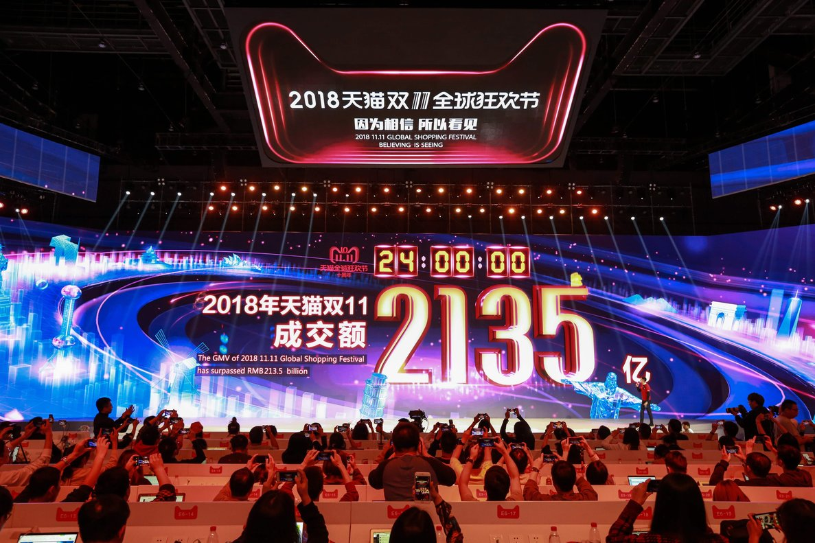 A screen shows total sales after the end of the Singles Dayshopping festivalat the 2018- Chinese e-commerce giant Alibaba during its annualSingles Dayshopping frenzybut growth slowed from previous yearsPhoto by STRAFPChina OUT