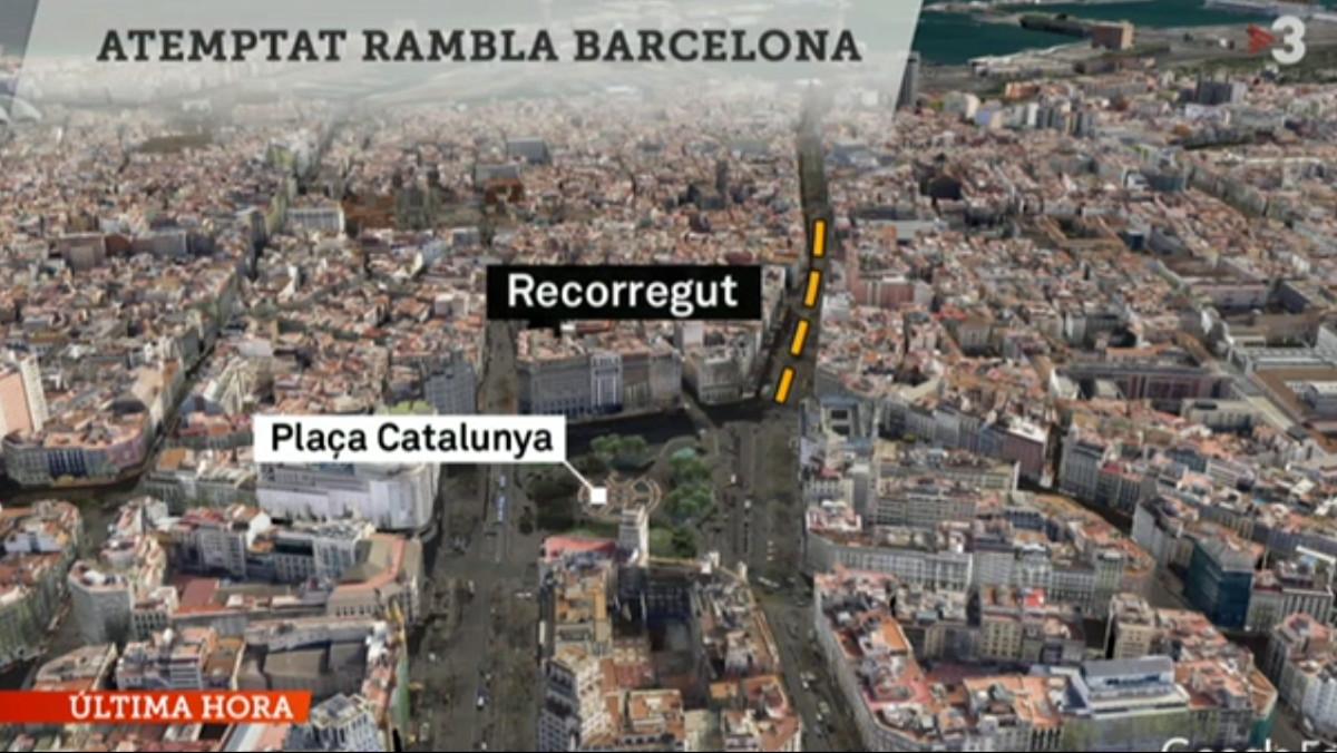 Imagen del especial informativo de TV-3 sobre el atentado terrorista en Barcelona.