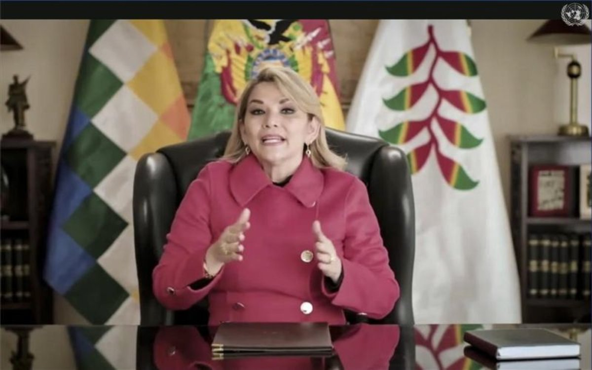 Jeanine Áñez,presidenta interina de Bolivia, en un mensaje en la ONU.