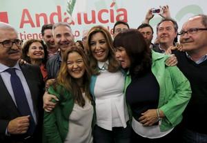 La candidata del PSOE, Susana Díaz, celebra la seva victòria a les eleccions andaluses.