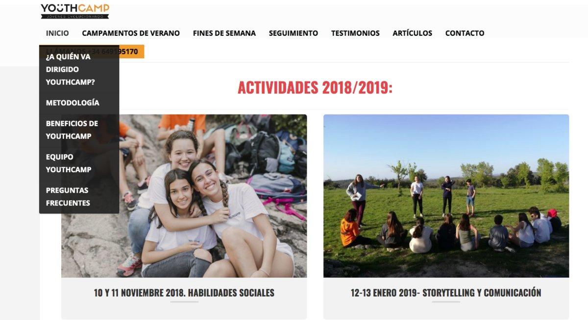 Página web de Youthcamp