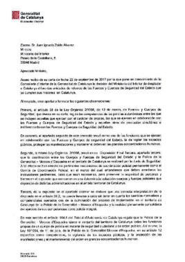 Carta del conseller Forn al ministro Zoido.