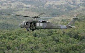 Un helicóptero del Ejército de Colombia.