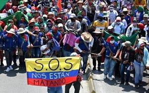 Protestas en Colombia por las masacres y la violencia constante.