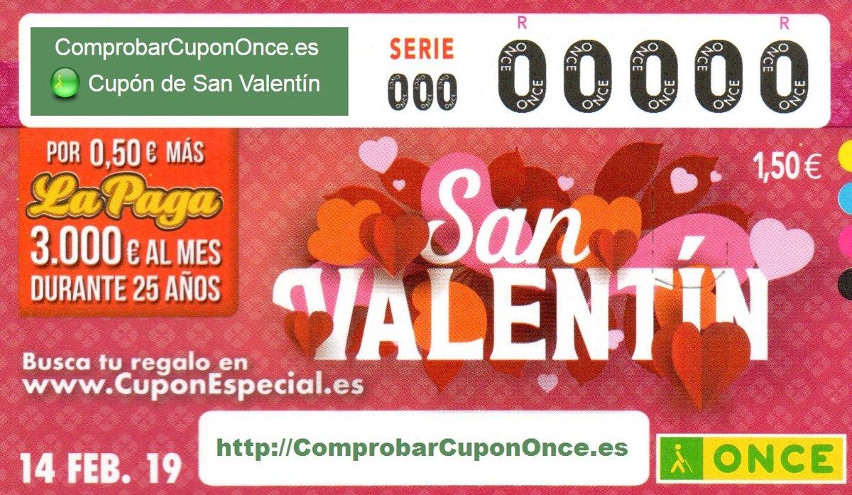 ONCE: Sorteig de Sant Valentí del divendres 14 de febrer del 2020