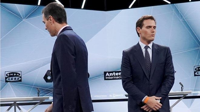 Debate de Atresmedia. Sánchez dice que no está en sus planes pactar con Cs .