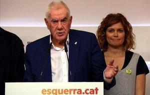 Ernest Maragall y Elisenda Alamany, en rueda de prensa.