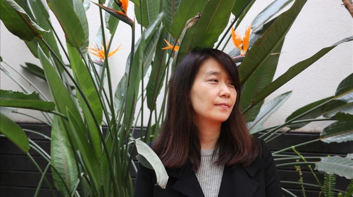 La escritora coreana Han Kang, en Barcelona.